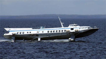 Hydrofoil and air-cushion ship of the Kometa type
